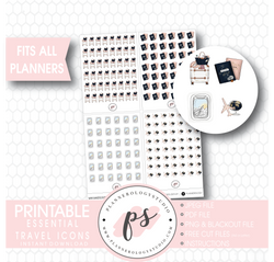 Various Travel Essentials Icons Digital Printable Planner Stickers - Plannerologystudio