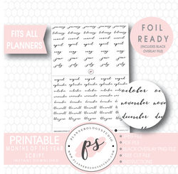 Months of the Year (January to December) Script Digital Printable Planner Stickers (Foil Ready)