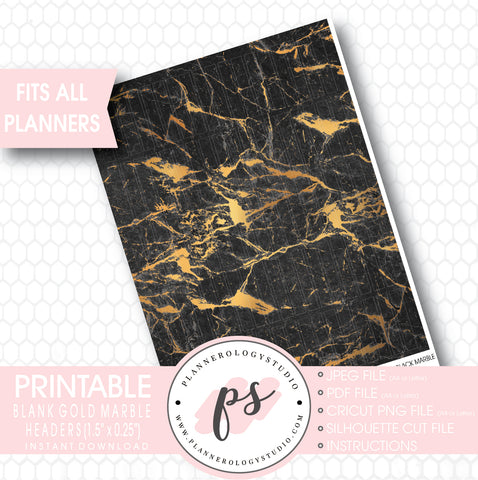 Gold Black Marble Pattern Blank Header Printable Planner Stickers - Plannerologystudio