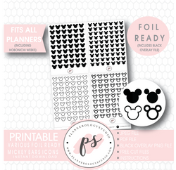 Various Disney Mickey Mouse Ears Inspired Icon Digital Printable Hobonichi Weeks Planner Stickers (Foil Ready)