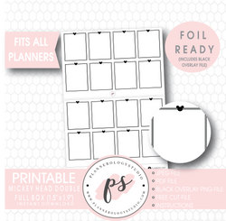 Mickey Mouse Inspired Double Full Boxes Digital Printable Planner Stickers (Foil Ready)