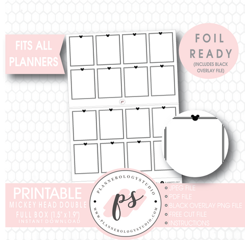 Mickey Mouse Inspired Double Full Boxes Digital Printable Planner Stickers (Foil Ready) - Plannerologystudio