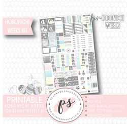 Oh Bunny (Easter) Weekly Kit Printable Digital Planner Stickers (for use with Hobonichi Weeks) - Plannerologystudio