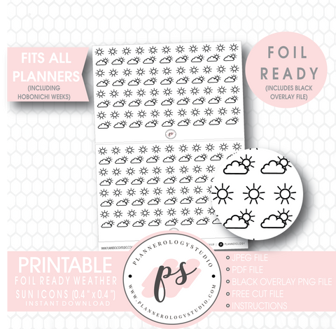 Weather (Suns) Icon Digital Printable Hobonichi Weeks Planner Stickers (Foil Ready)