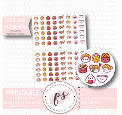 Cute Kawaii Sushi Icons Digital Printable Planner Stickers - Plannerologystudio