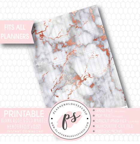 Rose Gold Marble Pattern Blank Header Printable Planner Stickers - Plannerologystudio