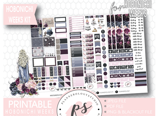 Ice & Wind (Game of Thrones) Weekly Kit Printable Digital Planner Stickers (for use with Hobonichi Weeks) - Plannerologystudio