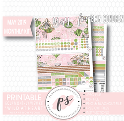 Wild at Heart May 2019 Monthly View Kit Digital Printable Planner Stickers (for use with Erin Condren)
