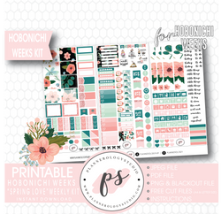 Spring Love Weekly Kit Printable Digital Planner Stickers (for use with Hobonichi Weeks) - Plannerologystudio