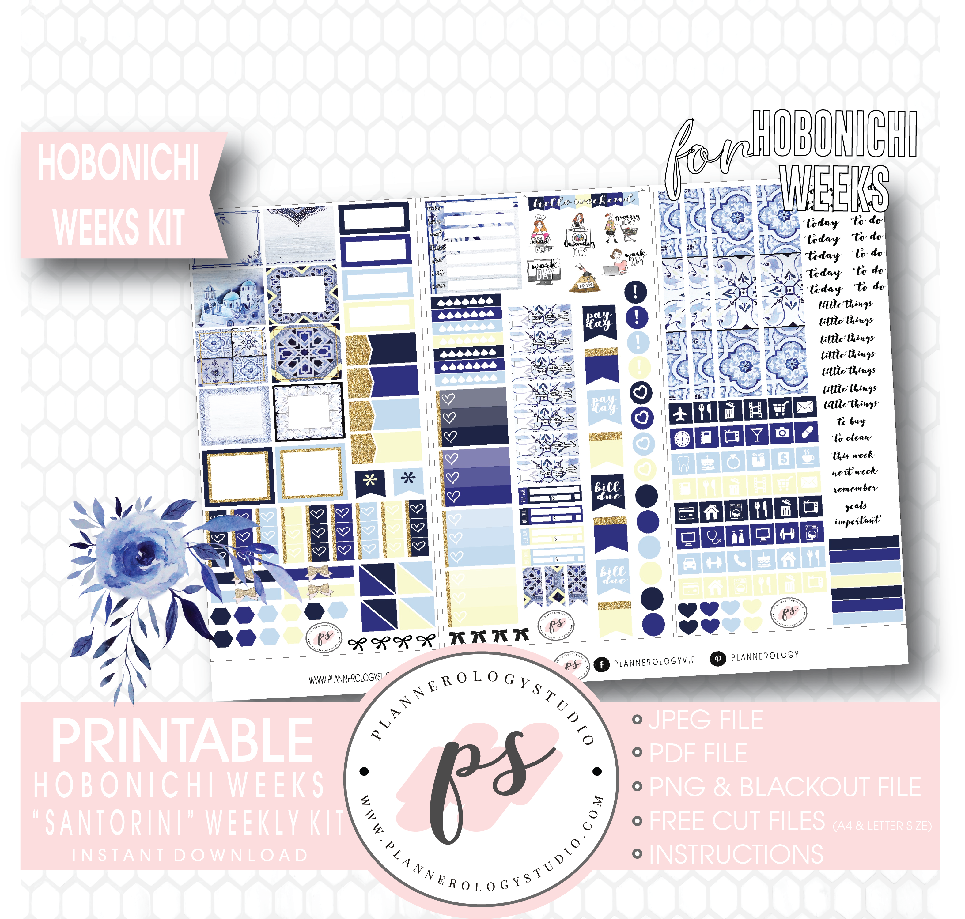 photograph about Free Digital Planner Pdf called Santorini Weekly Package Printable Electronic Planner Stickers (for employ the service of with Hobonichi Months)
