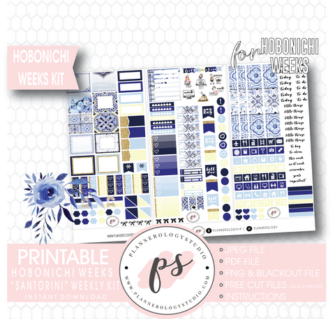 Santorini Weekly Kit Printable Digital Planner Stickers (for use with Hobonichi Weeks)