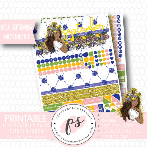 """Citrus Garden"" (Dark Skin Tone) September 2017 Monthly View Kit Printable Planner Stickers (for use with ECLP) - Plannerologystudio"