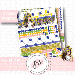 """Citrus Garden"" September 2017 Monthly View Kit Printable Planner Stickers (for use with ECLP) - Plannerologystudio"