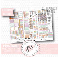 Hello Spring Weekly Kit Printable Digital Planner Stickers (for use with Hobonichi Weeks) - Plannerologystudio