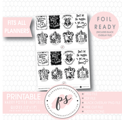 Harry Potter Inspired Quotes Digital Printable Planner Stickers (Foil Ready) - Plannerologystudio