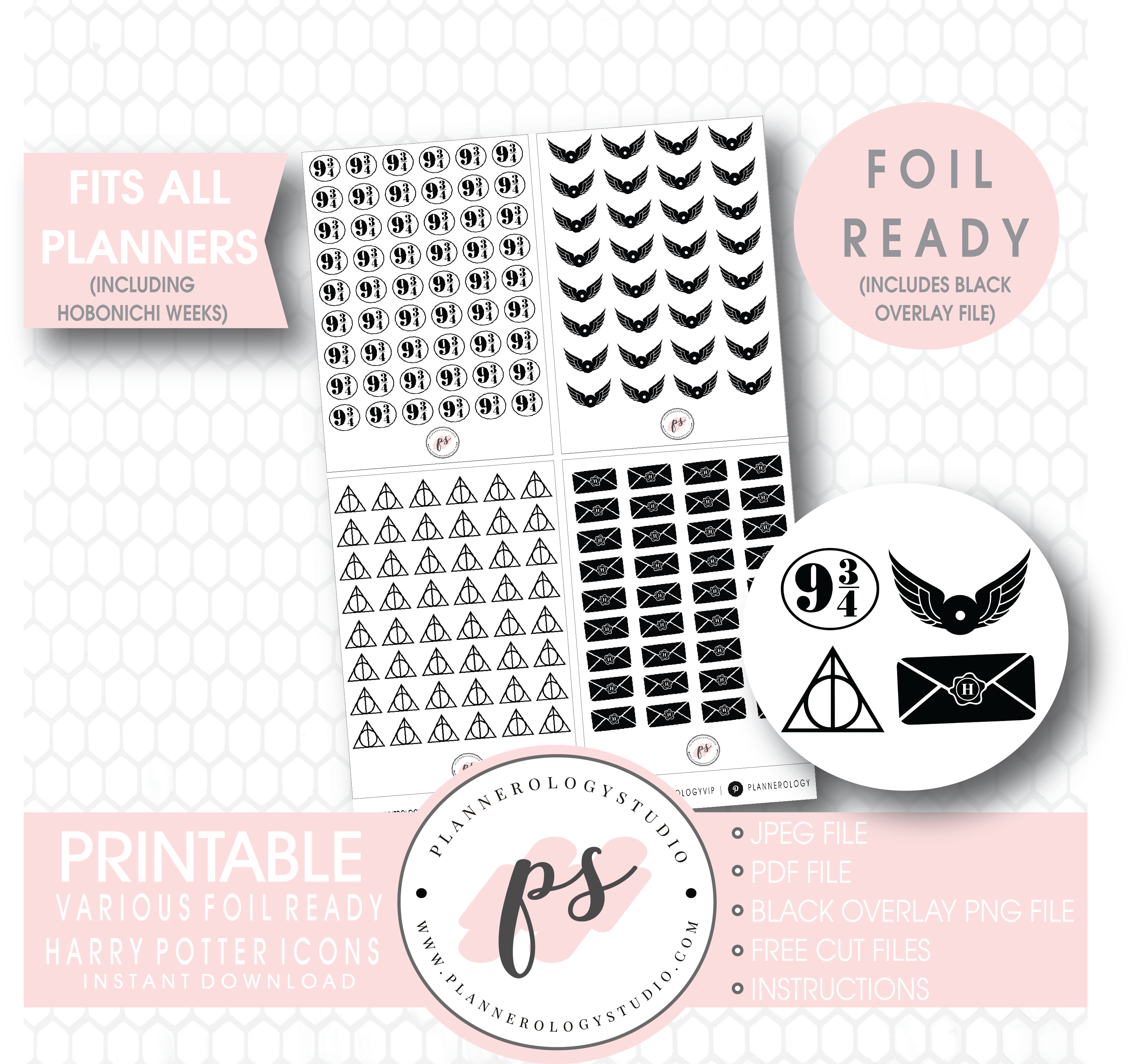 image about Harry Potter Printable named Different Harry Potter Influenced Icon Electronic Printable Hobonichi Months Planner Stickers (Foil Prepared)