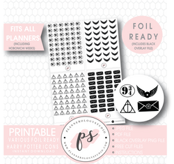 Various Harry Potter Inspired Icon Digital Printable Hobonichi Weeks Planner Stickers (Foil Ready) - Plannerologystudio