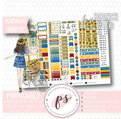 Dolce Vita Weekly Kit Printable Digital Planner Stickers (for use with Hobonichi Weeks) - Plannerologystudio