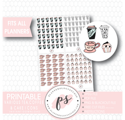 Various Coffee, Tea & Cake Doodle Icons Digital Printable Planner Stickers