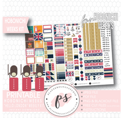 Hello London Weekly Kit Printable Digital Planner Stickers (for use with Hobonichi Weeks) - Plannerologystudio