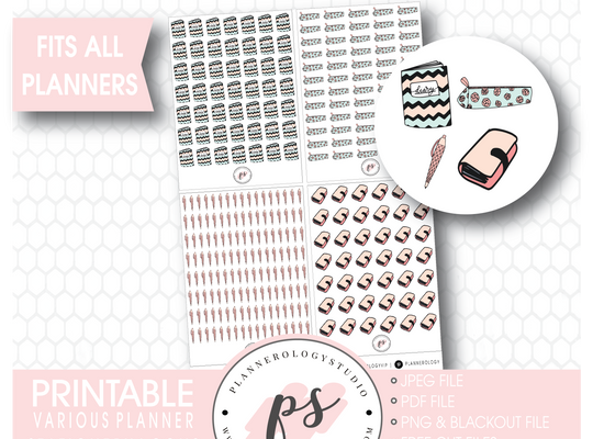 Various Planner Stationery Doodle Icons Digital Printable Planner Stickers