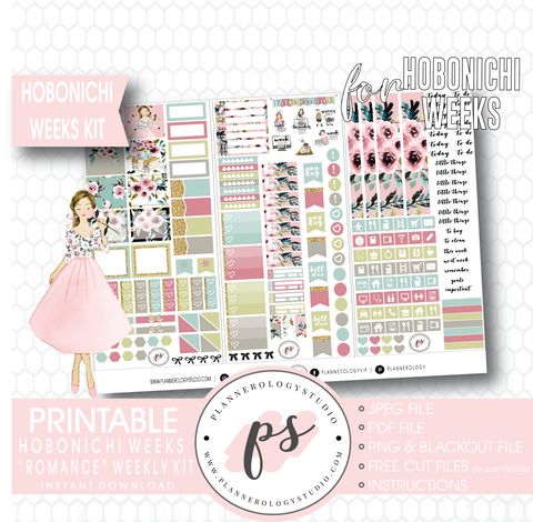 Romance Weekly Kit Printable Digital Planner Stickers (for use with Hobonichi Weeks)