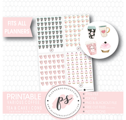 Various Coffee, Tea & Cake Icons Digital Printable Planner Stickers