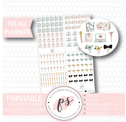 Various Planner Stationery & Accessories Icons Digital Printable Planner Stickers - Plannerologystudio
