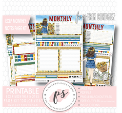 Dolce Vita Monthly Notes Page Kit Digital Printable Planner Stickers (for use with Erin Condren) - Plannerologystudio