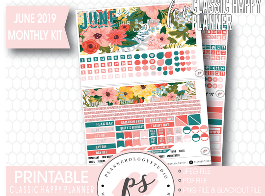 Summer Blooms June 2019 Monthly View Kit Digital Printable Planner Stickers (for use with Classic Happy Planner)