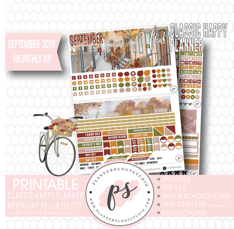 Fall in the City September 2019 Monthly View Kit Digital Printable Planner Stickers (for use with Classic Happy Planner) - Plannerologystudio