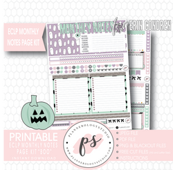 Boo Halloween Monthly Notes Page Kit Digital Printable Planner Stickers (for use with Erin Condren) - Plannerologystudio