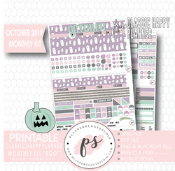 Boo October 2019 Halloween Monthly View Kit Printable Planner Stickers (for use with Classic Happy Planner) - Plannerologystudio