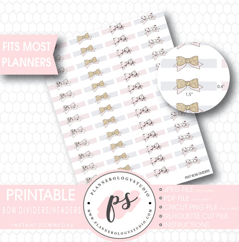 Bow Divider Header Printable Planner Stickers - Plannerologystudio