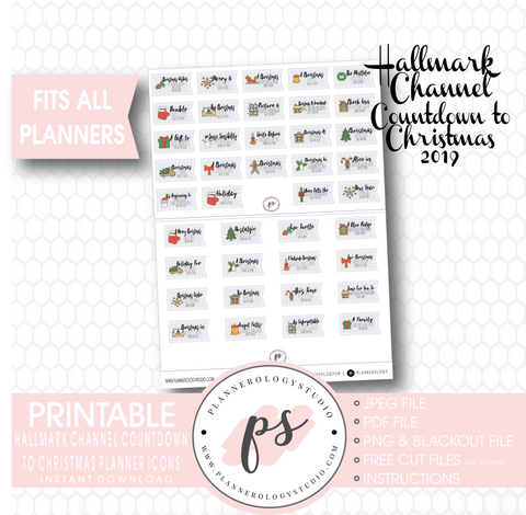 Hallmark Channel Countdown to Christmas Movies 2019 Planner Icons Digital Printable Planner Stickers - Plannerologystudio