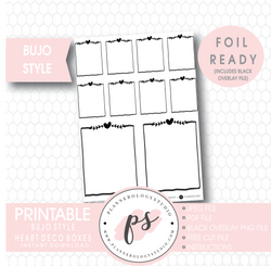 Heart Deco Full Boxes Bullet Journal Bujo Digital Printable Planner Stickers (Foil Ready) - Plannerologystudio