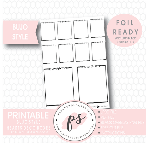 Hearts Deco Full Boxes Bullet Journal Bujo Digital Printable Planner Stickers (Foil Ready) - Plannerologystudio