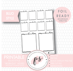 Workout Full Boxes Bullet Journal Bujo Digital Printable Planner Stickers (Foil Ready) - Plannerologystudio