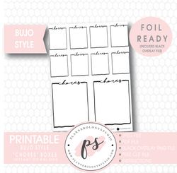 Chores Full Boxes Bullet Journal Bujo Digital Printable Planner Stickers (Foil Ready) - Plannerologystudio