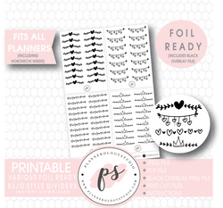 Various Bujo Style Dividers Digital Printable Planner Stickers (Foil Ready) - Plannerologystudio