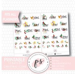 12 Days of Christmas Planner Icons Digital Printable Planner Stickers - Plannerologystudio