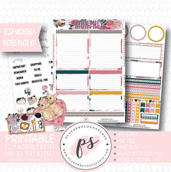 Stay in Love Valentines Day Theme Monthly Notes Page Kit Digital Printable Planner Stickers (for use with ECLP) - Plannerologystudio