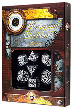 Set Dadi Steampunk Clockwork - Nero, Bianco