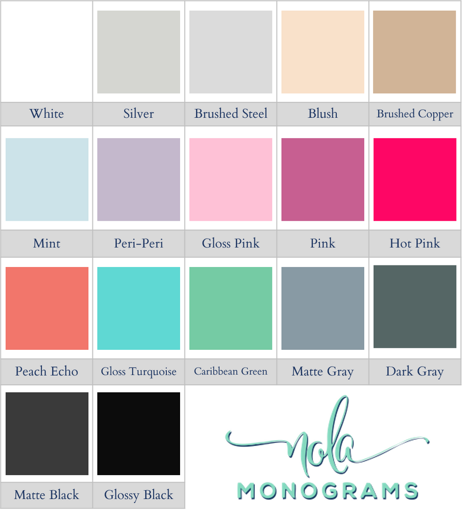 Nola Monogram Vinyl Colors