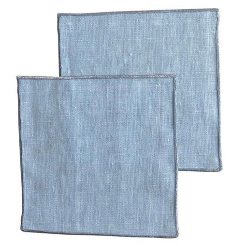 Blues Linen Cocktail Napkins, Set of 4