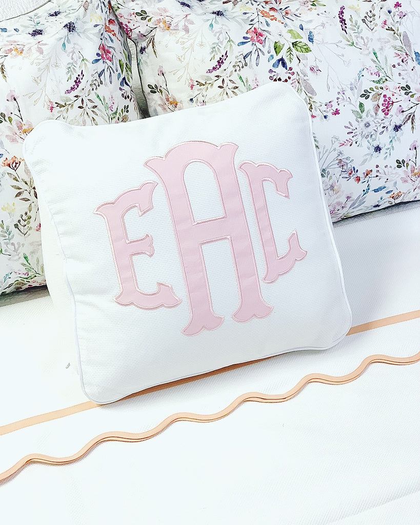 Wedge Pillow with Applique Monogram