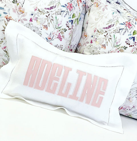 Fine White Linen Boudoir Pillow With Appliqué