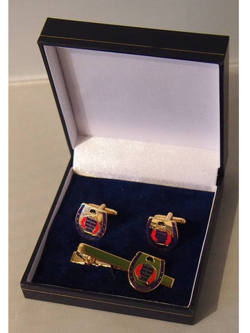 Cufflinks and Tie bar set in the colours of HM The Queen