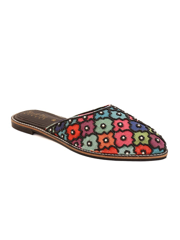 Black Multi Coloured Ethnic Slip-on's