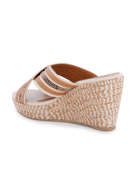 Beige Cross Strap Wedges